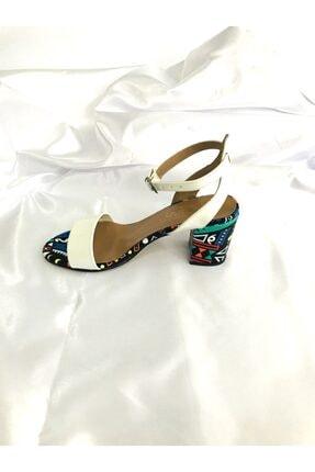 Kalan Shoes Renkli Ekose Tek Bant Kadın Topuklu Ayakkabı 4
