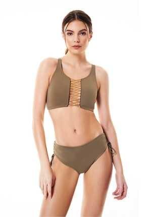 Bonesta Kadın Haki Zincirli Halter Bikini Takımı 0