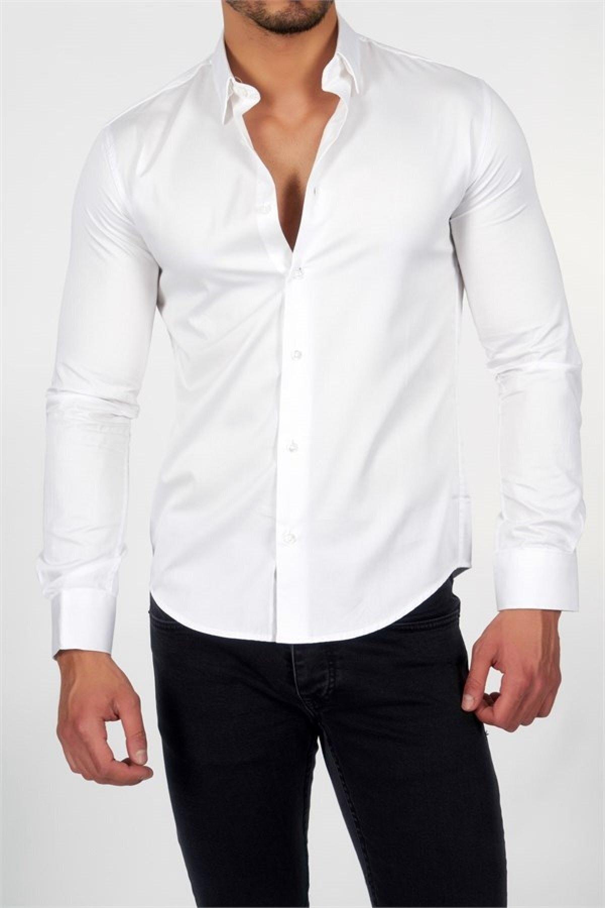 Erkek Beyaz Pamuk Saten Gömlek
