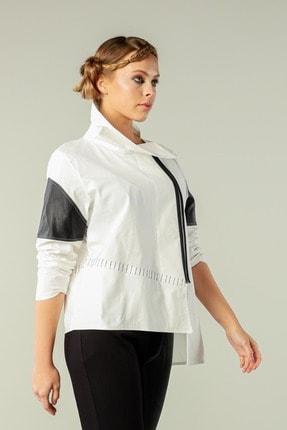 Butik Suat Kadın Beyaz Asimetrik Dikişli Gömlek 4