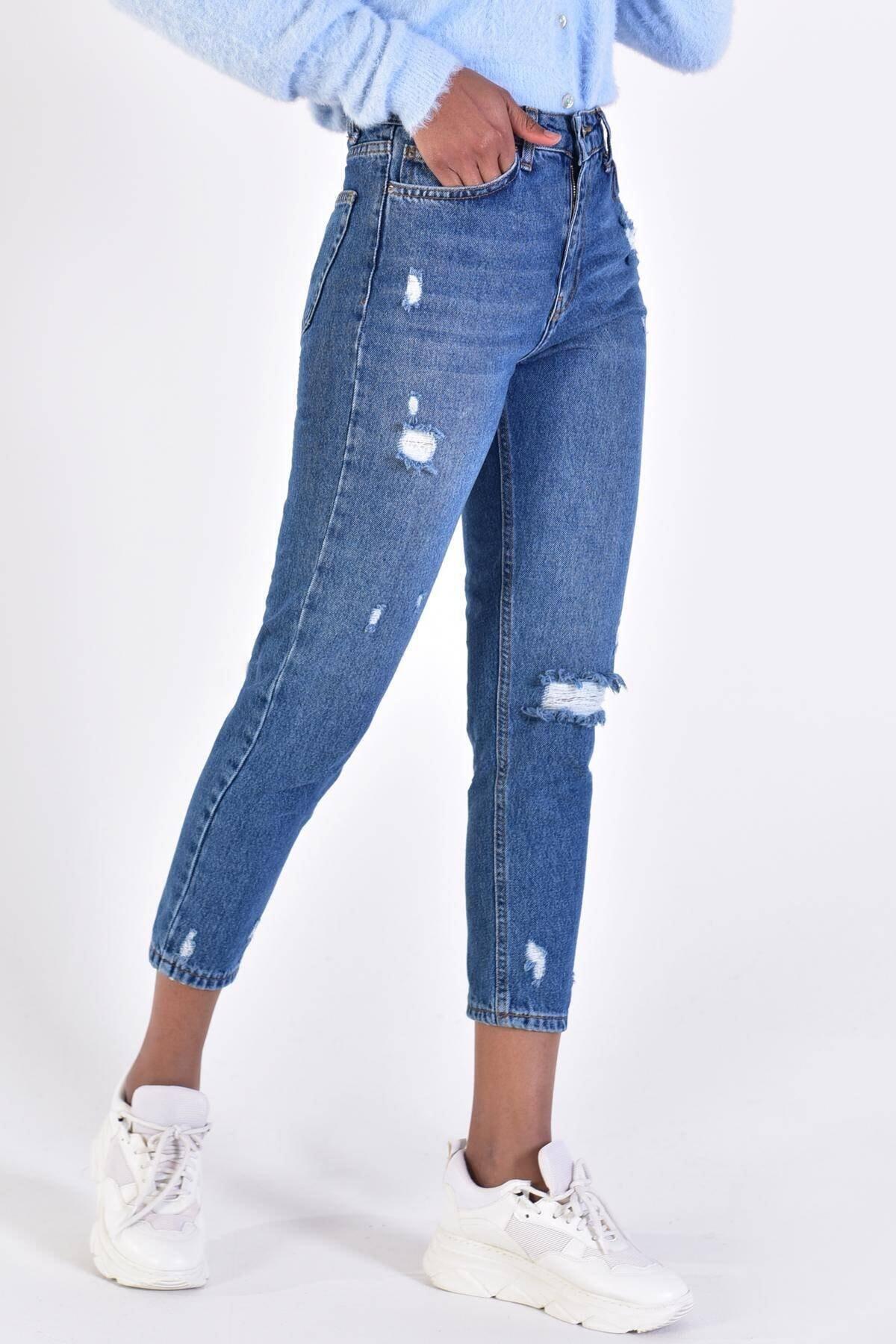 Addax Kadın Kot Rengi Yırtık Detaylı Pantolon 3