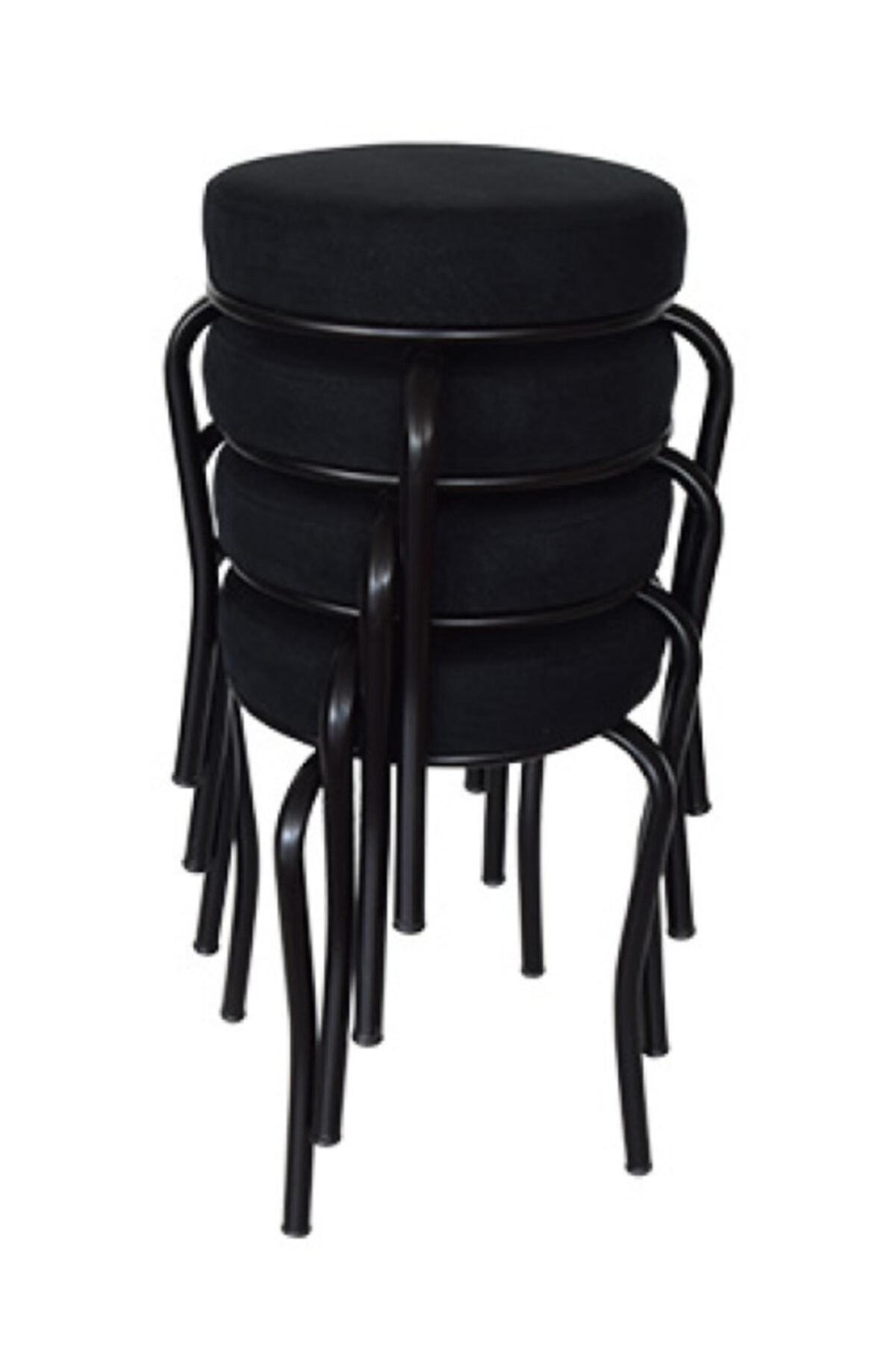 Tabure (4 Adet) Siyah Ayaklı, Taytüyü Kumaş, Metal Ahtapot, Mutfak Balkon Işyeri Hr T 102