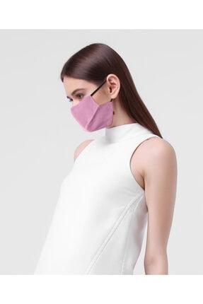Monopro Unisex Pudra Vegan Cupro Klipsli ve Telli Antibakteriyal Yıkanabilir Maske 2