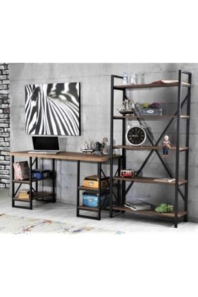 Sedef Çalışma Masası 4 Raflı & Kitaplık Masa Takımı Ofis & Ev Takım Ceviz Renk 0