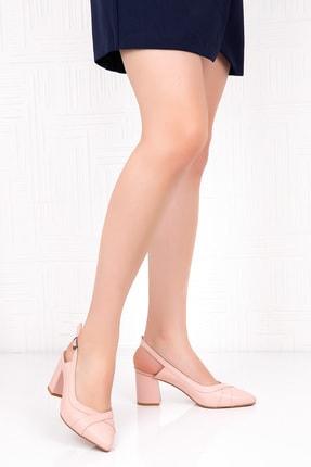 Gondol Kadın Pembe Hakiki Deri Topuklu Ayakkabı 1