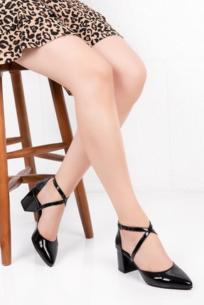Gondol Kadın Siyah Hakiki Deri Çapraz Bant Detay Topuklu Ayakkabı 0