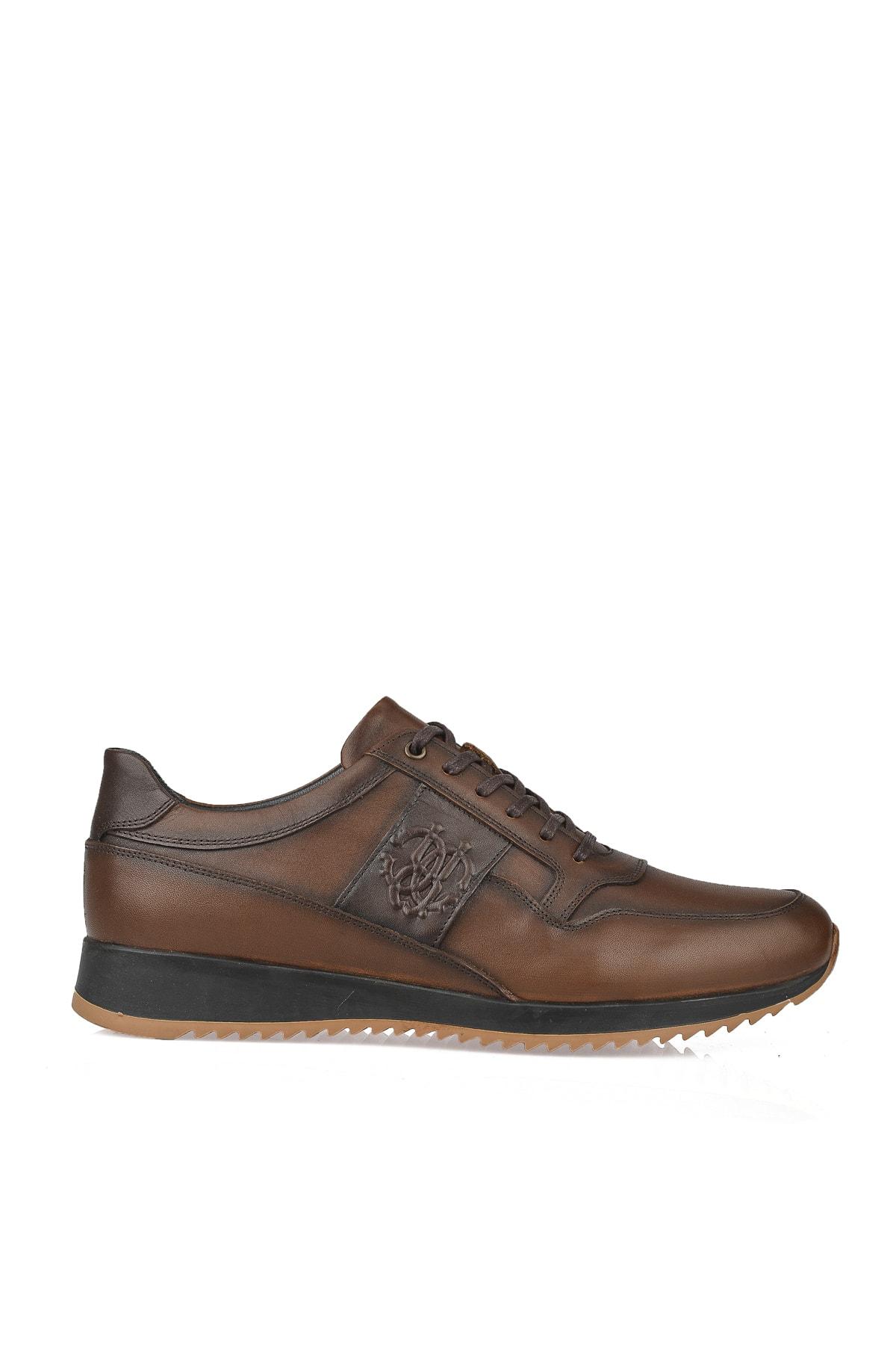 Erkek Kahverengi Hakiki Deri Sneaker