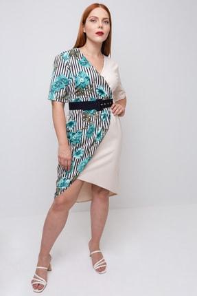 Lafaba Kadın Bej Büyük Beden Kruvaze Yakalı Elbise 0