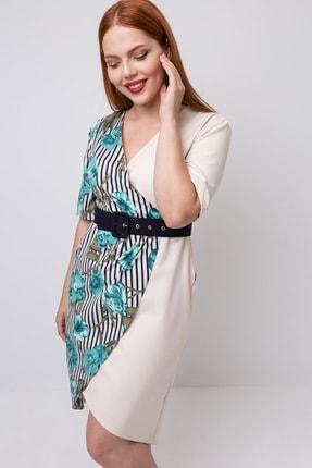 Lafaba Kadın Bej Büyük Beden Kruvaze Yakalı Elbise 1