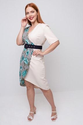 Lafaba Kadın Bej Büyük Beden Kruvaze Yakalı Elbise 3