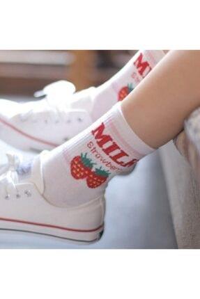 çorapmanya 6 Çift Kadın Milk Yazılı Muz, Çilek, Inek Desenli Kolej Tenis Çorap 4 3