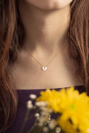 Gelin Pırlanta Kadın Altın 14 Ayar Klasik Pırlantalı Kalp Kolye 1