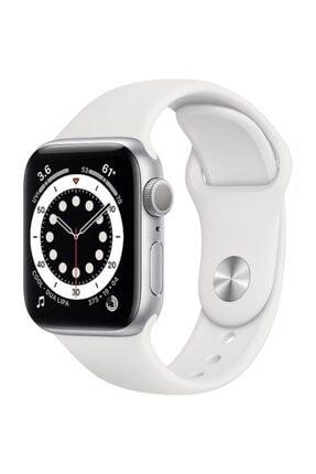 Apple Watch Series 6 Gps 44 Mm Gümüş Rengi Alüminyum Kasa Ve Beyaz Spor Kordon 0