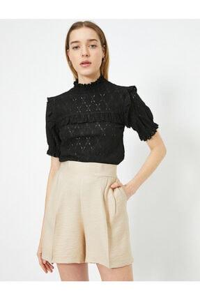 Koton Kadın Siyah T-Shirt 0YAK13124EK 1