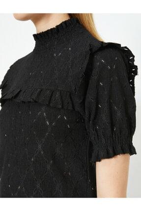 Koton Kadın Siyah T-Shirt 0YAK13124EK 4