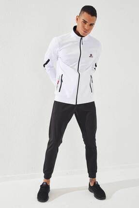 تصویر از Erkek Beyaz-Siyah Sport Klasik Cep Detaylı Dalgıç Eşofman Takım