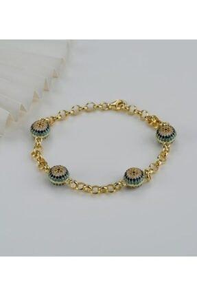 Gümüşistan Kadın Gold 925 Ayar Gümüş Göz Nazarlı Trend Bileklik 0