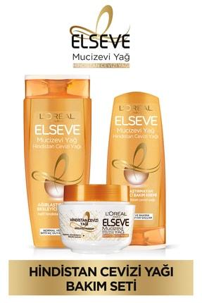 Elseve Mucizevi Hindistan Cevizi Yağı Besleyici Şampuan 450ml & Saç Bakım Kremi 360 Ml& Saç Maskesi 0