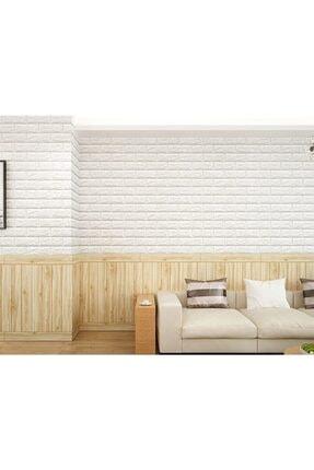 Renkli Duvarlar Yapışkanlı Sünger Beyaz Tuğla Duvar Kağıdı Kaplama Paneli 70x77 Cm 6 Adet 4