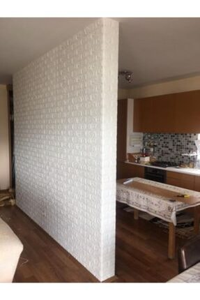 Renkli Duvarlar Nw01 Kendinden Yapışkanlı 8,5mm 70x77 Cm Sünger Beyaz Tuğla Duvar Kağıdı 2