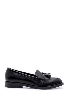 Derimod Kadın Siyah Püskül Detaylı Loafer Ayakkabı 0