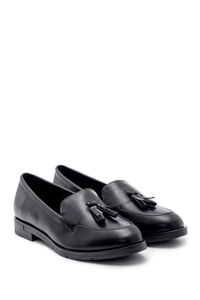 Derimod Kadın Siyah Püskül Detaylı Loafer Ayakkabı 1
