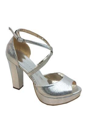 SMİLEE Kadın Bej Abiye Platform Topuklu Sandalet 4713 0