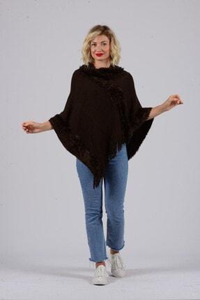 Gezgin tekstil ve aksesuar Kadın Kahverengi Püsküllü Panço 0