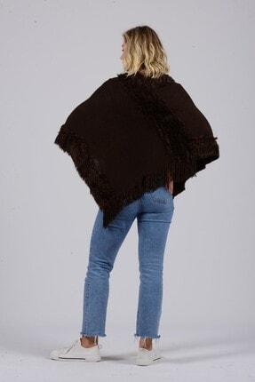 Gezgin tekstil ve aksesuar Kadın Kahverengi Püsküllü Panço 2