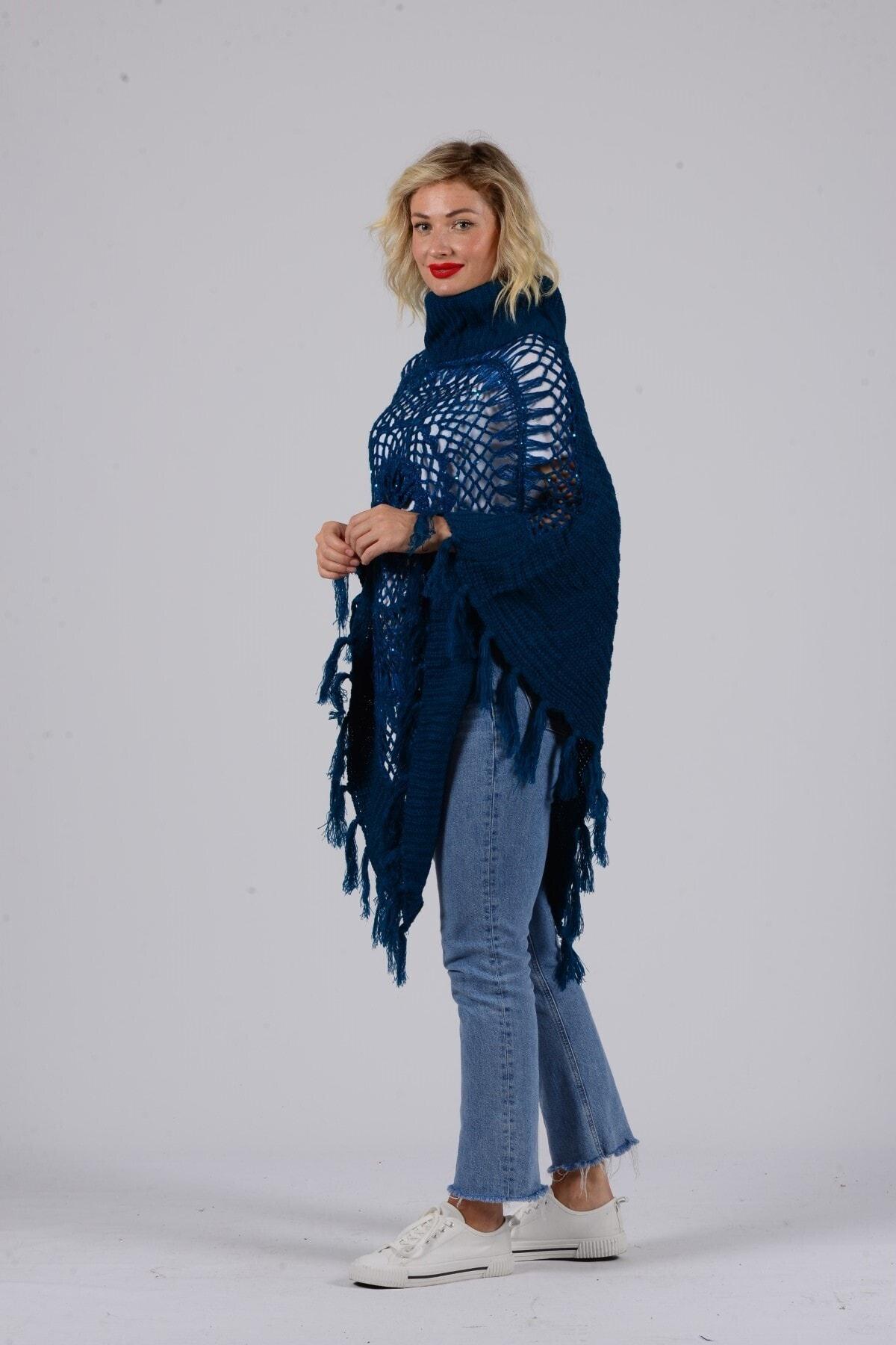 Gezgin tekstil ve aksesuar Kadın Mavi Püsküllü Pullu Panço