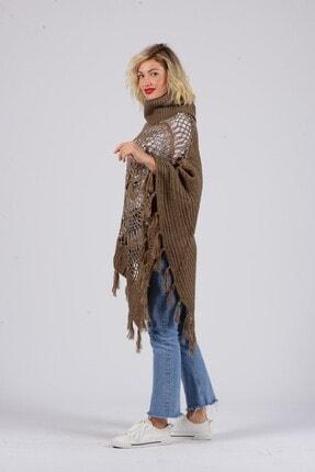 Gezgin tekstil ve aksesuar Kadın Camel Püsküllü Pullu Panço 1