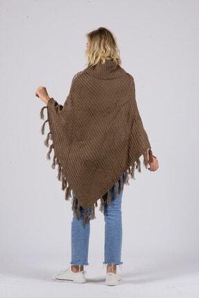 Gezgin tekstil ve aksesuar Kadın Camel Püsküllü Pullu Panço 2