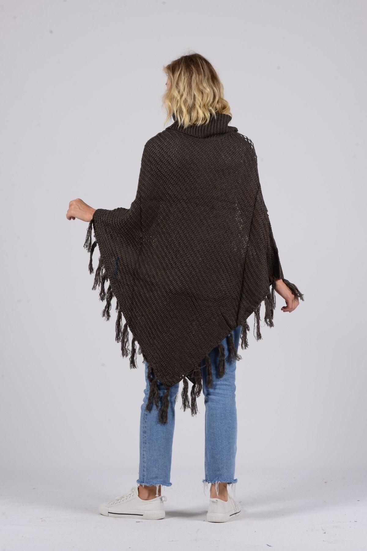 Gezgin tekstil ve aksesuar Kadın Kahverengi Püsküllü Pullu Panço