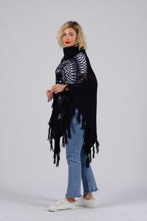 Gezgin tekstil ve aksesuar Kadın Lacivert Püsküllü Pullu Panço 1