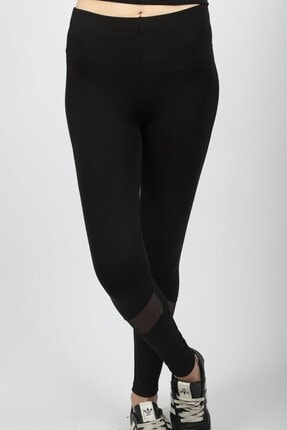 HAKKE Kadın Siyah Transparan Detaylı Tayt 1