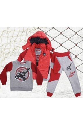 Aymini Kids Erkek Çocuk Kırmızı Kışlık Yelekli Takım 0
