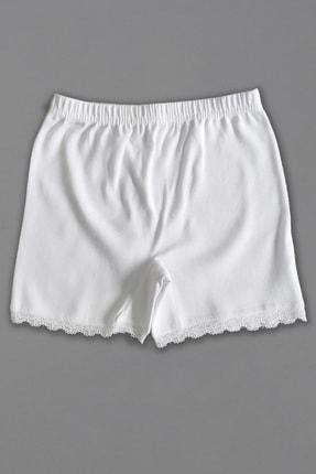 Altun Kız Çocuk Beyaz Penye Mini Şort Boxer 0