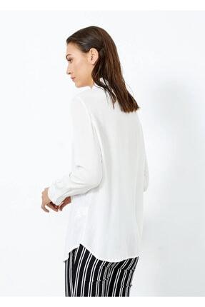 Adze Kadın Ekru Düğmeli Uzun Kol Gömlek 2