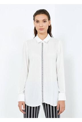 Adze Kadın Ekru Düğmeli Uzun Kol Gömlek 3