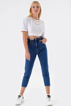 Modakapimda Koyu Mavi Beli Lastikli Jean Pantolon 1