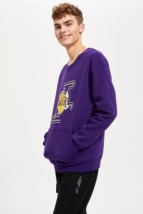 Defacto Unisex Mor Nba Lisanslı Oversize Fit Sweatshirt 0
