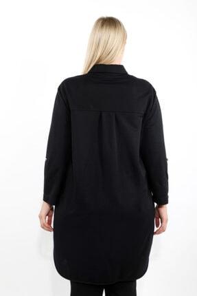 LUOKK Kadın Siyah Katlanabilir Kol Ve Apolet Detaylı Gizli Cepli Uzun Manşet Kollu Rahat Kesim Tunik 1