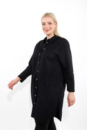 LUOKK Kadın Siyah Katlanabilir Kol Ve Apolet Detaylı Gizli Cepli Uzun Manşet Kollu Rahat Kesim Tunik 3