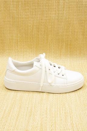 GNY AYAKKABI Kadın Beyaz Suni Deri  Sneaker 3
