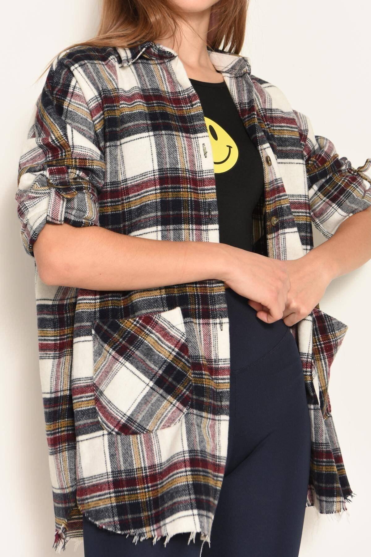 Addax Kadın Ekru-Bordo Çift Cepli Ekose Gömlek G2020 - Z3 ADX-0000023044 2