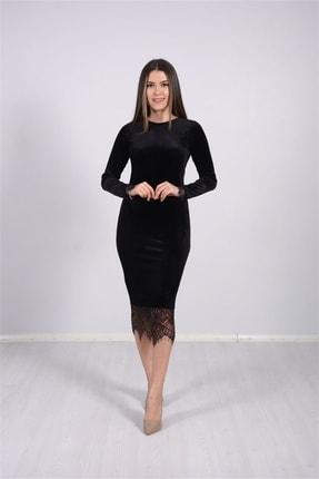 giyimmasalı Kadın Siyah Kadife Kumaş Dantel Elbise 3