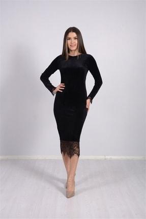 giyimmasalı Kadın Siyah Kadife Kumaş Dantel Elbise 4