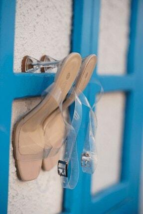 Stil Durağı Kadın Ten Rugan Kiko Model Şeffaf 8 cm Topuklu Şeffaf Bantli Ayakkabı 4