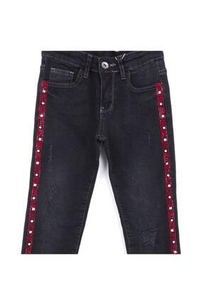 Picture of Kız Çocuk Siyah Yanları Taşlı Yırtık Kot Pantolon