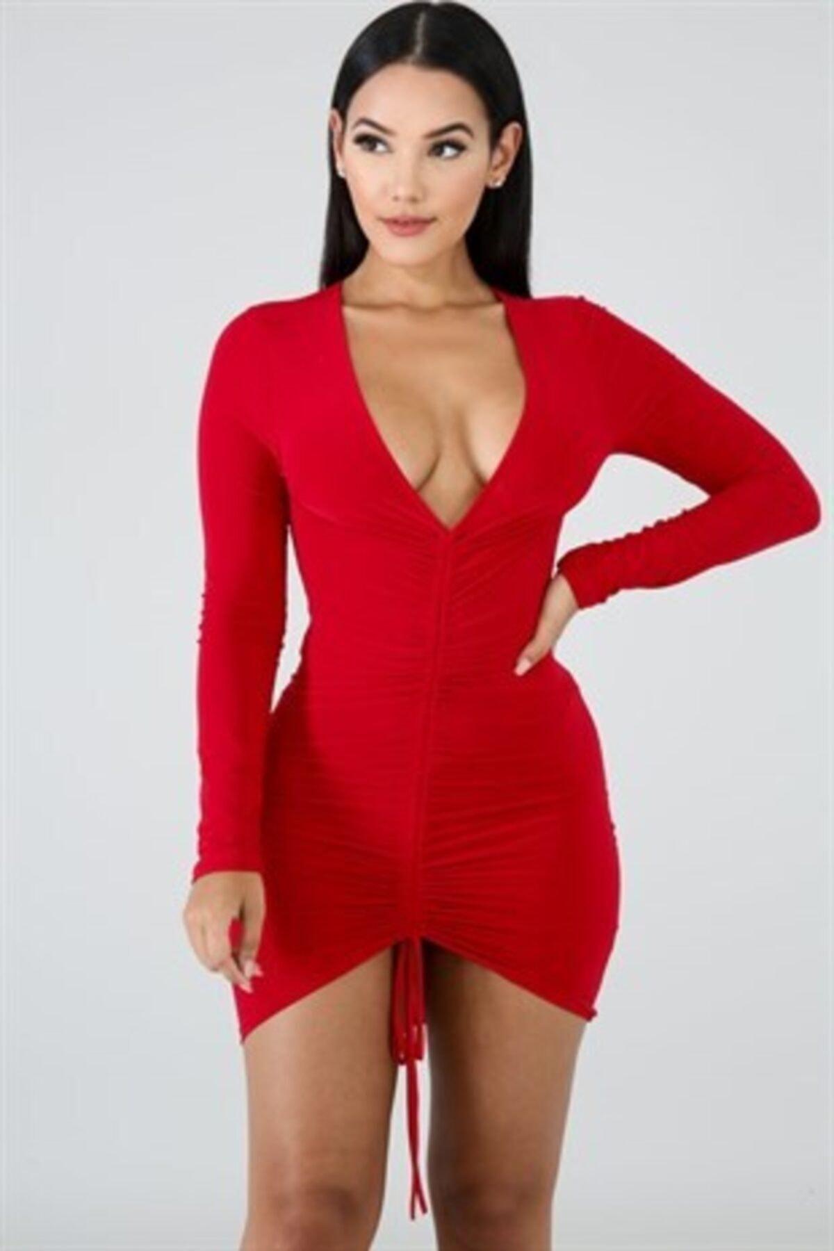 Kadın Kırmızı Esnek Sandy Kumaş Göğüs Dekolteli Bağcık Detaylı Mini Gece Elbisesi